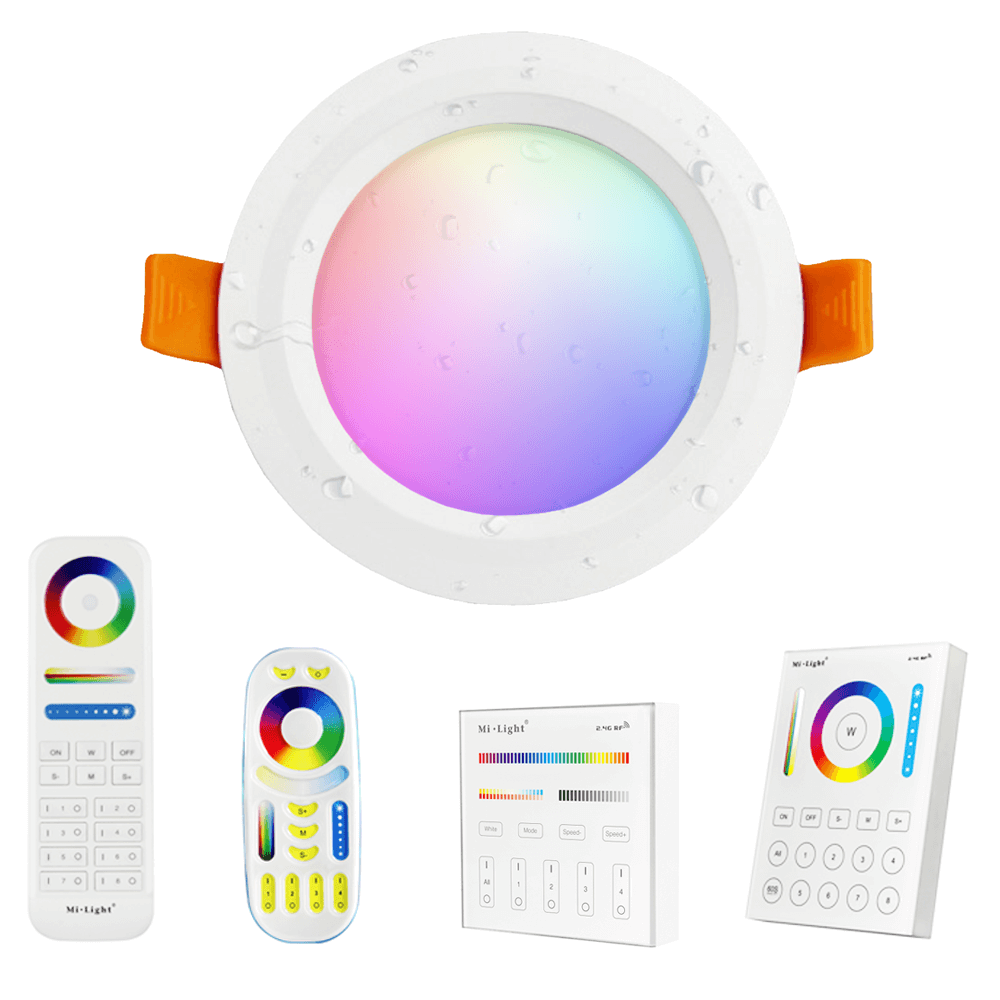 Milight RGBWW led inbouwspot downlight set met afstandsbediening - 6 Watt