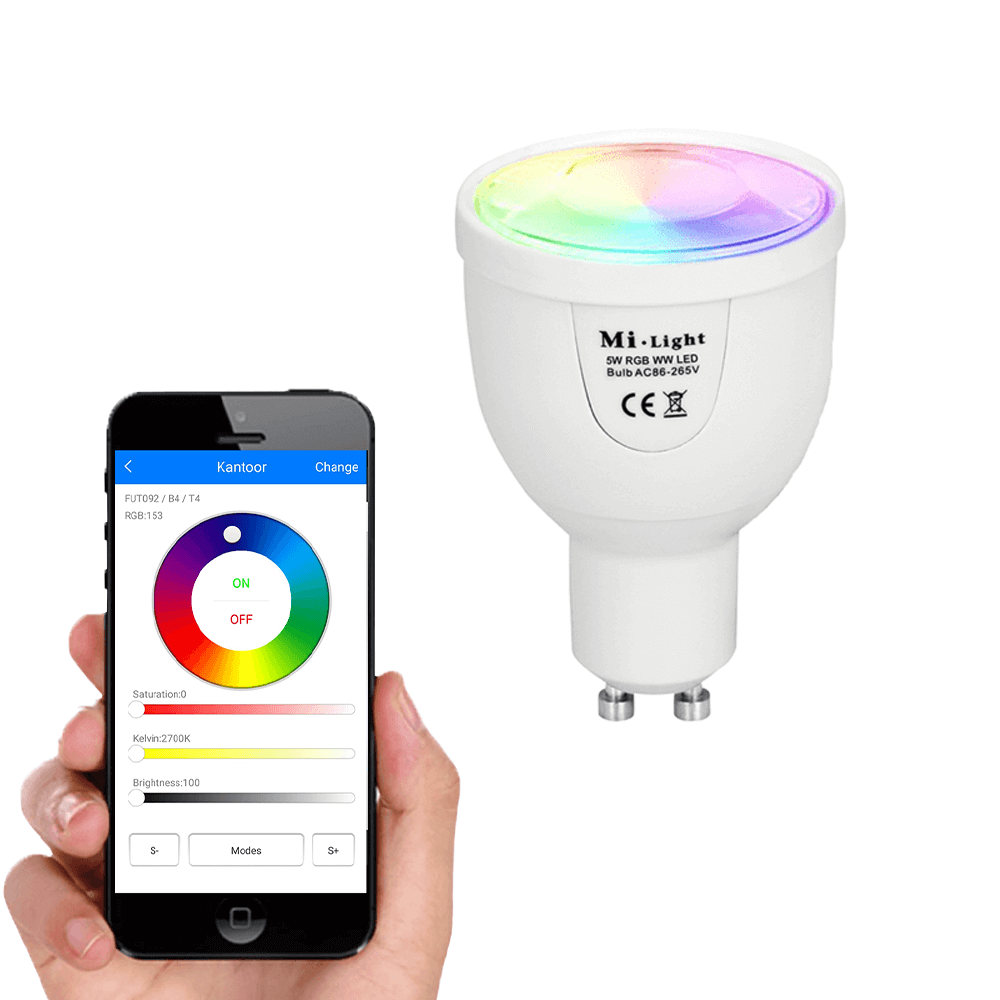 Milight Wifi led spot set RGBW mét Wifi module 5 watt GU10